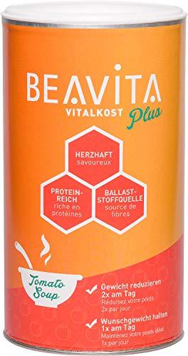 BEAVITA Vitalkost Plus - 500g Tomatensuppe - Diät Suppe für unbeschwertes Abnehmen - reicht für 10 Suppen - Kalorien sparen & Gewicht reduzieren - nährstoffreicher Mahlzeitersatz - mit Dosierlöffel