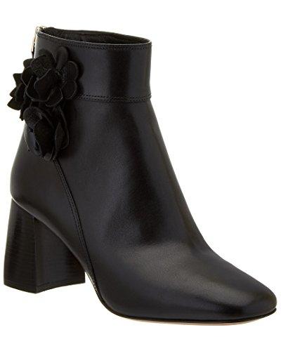 Tory Burch - Botas de piel para mujer, diseño de flores, color negro, Negro, 7 US