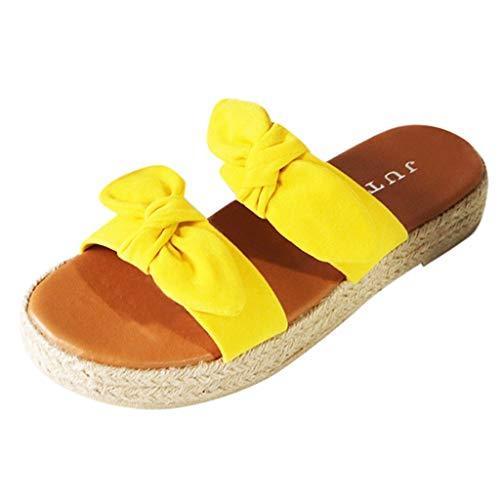 Sandalias Mujer Verano 2020,Zapatos Planos De Romanas Vintage Sandalias De Suela Tejida Zapatos Bohemias Bohomia Hebilla Zapatillas Sandalias Transpirables con Puntera Abierta Amarillo