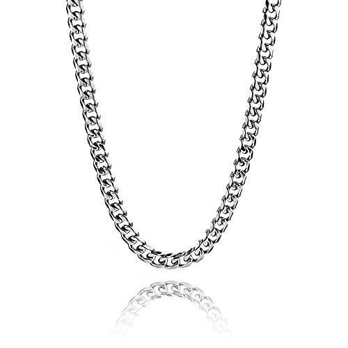 RUBY - Collana a catena in acciaio inossidabile 9mm / 61cm per uomo e donna, collane hip-hop per catene a maglie spesse unisex stile cubano (9mm)
