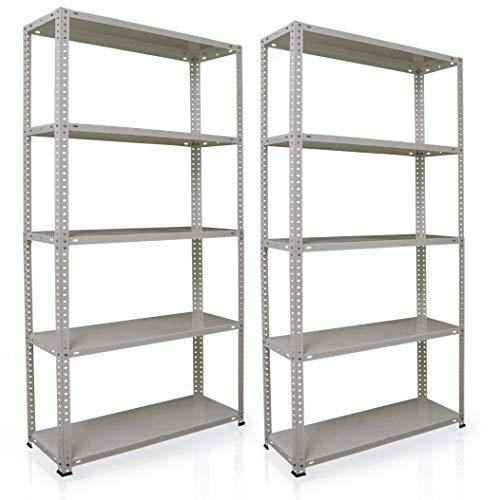 NAWA Home & Work Estantes de almacenamiento, pack de 2 estanterías para el sótano/estantería para taller/estantería para garaje, estantería práctica y versátil (180x90x30GA) PACK-EST180GA