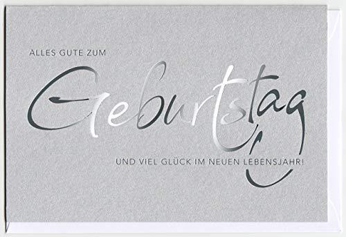 Geburtstagskarte Schrift silber auf Silbergrau