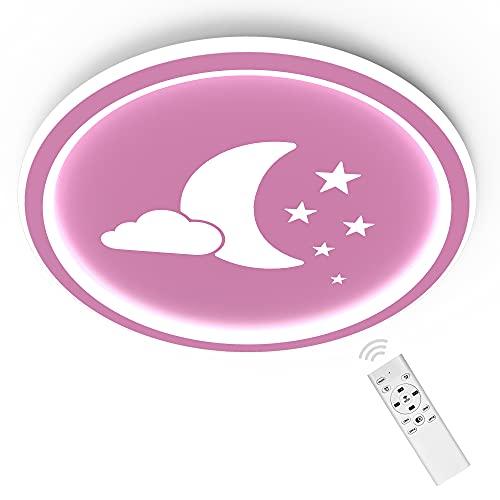 ANTEN Moonpie I Plafón LED 24W con mando a distancia I Rosa I Plano de 4,5 cm I Ø 30cm I Regulable y temperatura de color continuamente regulable 3000-6500K…