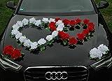 DOPPEL HERZ Auto Schmuck Braut Paar Rose Deko Dekoration Autoschmuck Hochzeit Car Auto Wedding Deko Ratan (Reinweiß / Rot)