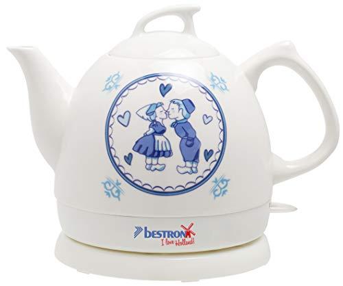 Bestron DTP800H Hervidor de Agua Retro, Diseño: I Love Holland, 1800 W, 0.8 litros, Cerámica, Color blanco
