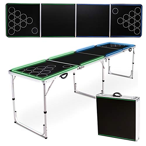 Wodesid 8FT Portable Beer Pong Tables with Carrying Handle Tailgate Desk Lightweight Adjustable Height Aluminum Folding Flip Cup Table for Indoor Outdoor, Picnic Party Camping (8FT Games Table)