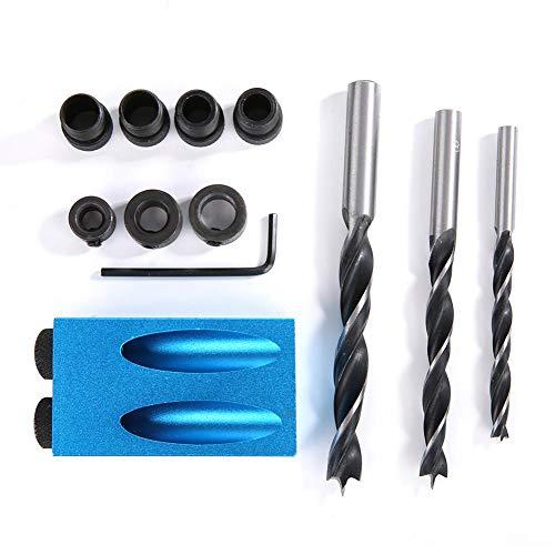 Taschenloch-Jig Kit Holzdübel Bohrset Taschenlochbohrerführung Kit 15° Winkel für schnelles Bohren DIY Tischlerei Werkzeuge