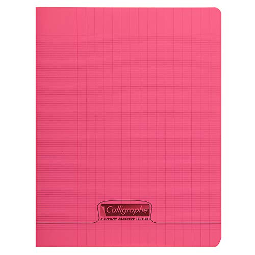 Calligraphe 18173C - Un cahier piqué (gamme 8000 de Clairefontaine) 48 pages 24x32 cm 90g grands carreaux, couverture polypro (plastique), Rouge