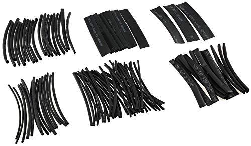 Schrumpfschlauch-Set 100-teilig Schrumpfrate 2:1 Nachfüllpack 6 Größen Wasserdicht Verbinden Isolieren von Kabel Elektronik Schwarz