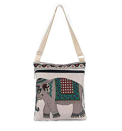 Renquen Fashion Boheemse Olifant Geborduurd Patroon Schoudertas Etnische Stijl Crossbody Tas voor Vrouwen
