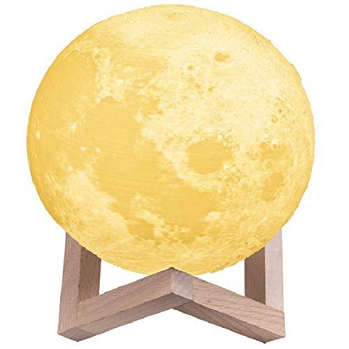 Lámpara Luna 3D,TaoTronics Luz Nocturna Luna LED (8 cm) Control Táctil, 3 Colores, Brillo Regulable, Lámpara Ambiente Luz Decorativa para Dormitorio, Salón, Decoración Hogar, Regalo Romántico (15CM)