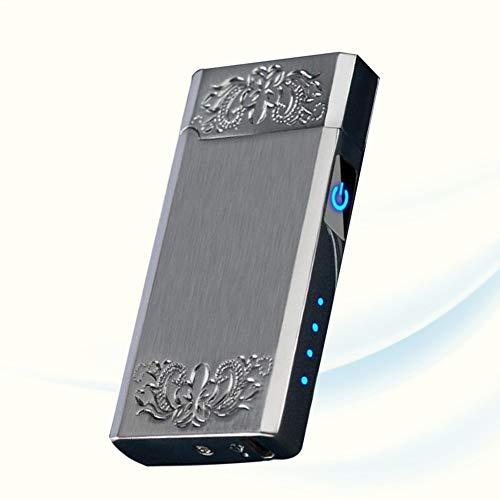 Doppelbogenfeuerzeug USB Cycle Charge Touch Induktion Mit LED Power Display Winddichtes Flammenloses Feuerzeug Für Indoor Outdoor Zigarettenanzünder,Silber