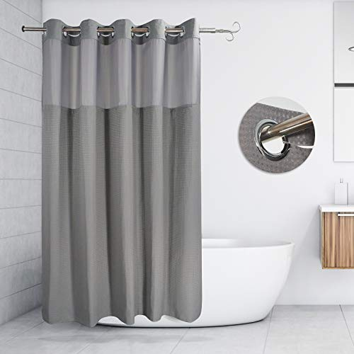 BYBRIV Waterproof Shower Curtain Made of Honeycomb Woven Fabric, 100% Polyester Fabric, Soft and Comfortable, can be Washed in The Washing Machine, 71 X 74 inches (Gray)