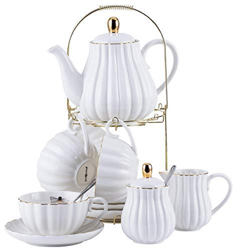 Jusalpha Porcelain Tea Set- 8 OZ White Coffee Cup/Teacup, Saucer, Spoons, Teapot and Creamer set, 17-Pieces (FD-TW17PC SET, White)