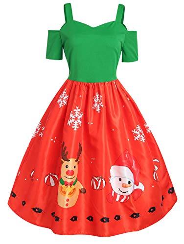 Averyshowya Weihnachten kostümSantaClausKostümDrucken Weihnachtskleid Schatzausschnitt Kurzarm A Line Party Dress @ Multi_4XL