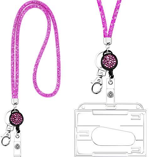 Collar de Cordón de Cristal con Tarjetero Transparente y Llavero, Cordón de Cristal de Diamantes de Imitación Brillante Soportes de Insignias Transparentes y Correa de Cuello (Rosa)