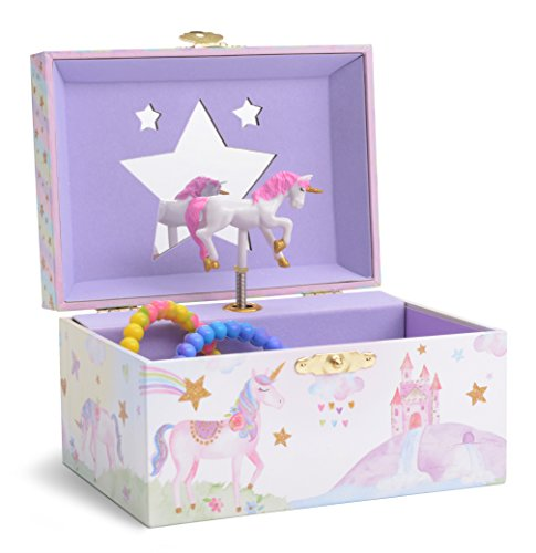 Image of the Jewelkeeper Girl's Musical Jewelry Storage Box with Spinning Unicorn, Glitter Rainbow and Stars Design, The Unicorn Tune