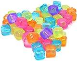 com-four® 60x Wiederverwendbare Eiswürfel in verschiedenen Farben, Party-Eiswürfel zum Kühlen von Getränken (060 Stück - Würfel)