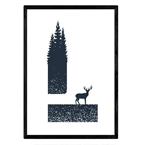 Nacnic Letra L con Bosque, Ciervo y montañas. Naturaleza.Posters de Letras con diseño. Tamaño A3 con Marco