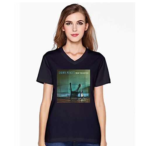 shawn mendes Womens Treat You Better Illuminate V-Neck Short T-Shirt Black