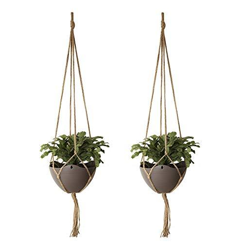 HEOCAKR Colgante de Plantas, 2 Pcs Colgador para Plantas para Macetas de Interior y Exterior, Hecho a Mano, Cuerda de Cáñamo, para Jardín Decoración de Pared En Casa