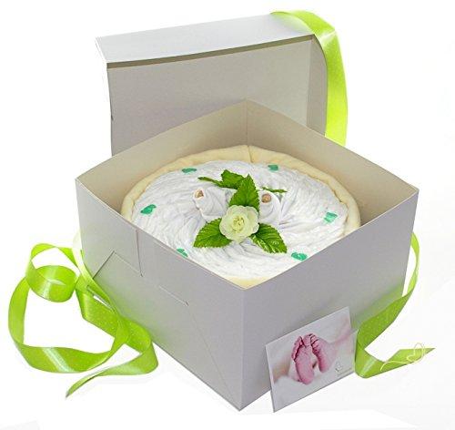 Pampers Windeltorte grün in Cakebox - Geschenke zur Geburt - dubistda© handmade