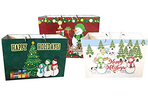 InGENIUS Reusable Gift Bags Extra Wide 3 Holiday Bags Christmas Themed 18' x 13' x 7'