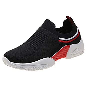 Gaowen Women s Fly Weave Striped Breathable Running Sneaker Quick-Drying Jogging Casual Shoes  Black 8