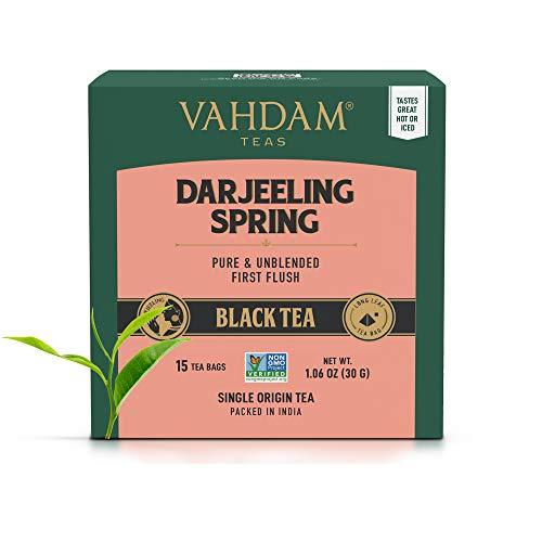 VAHDAM, Exotische Darjeeling First Flush Teeblätter, 30 Teebeutel, Long Leaf Pyramid Darjeeling Teebeutel, 100% reiner ungemischter First Flush Darjeeling Tee, verpackt in Indien