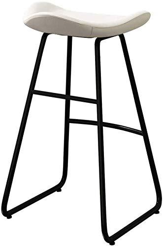 WWW-DENG barkruk met rugleuning en voetensteun, eetkamerstoel voor keuken en eetkamer, van PU-leer in een stoel van metaal met bekleding en zwarte barkruk