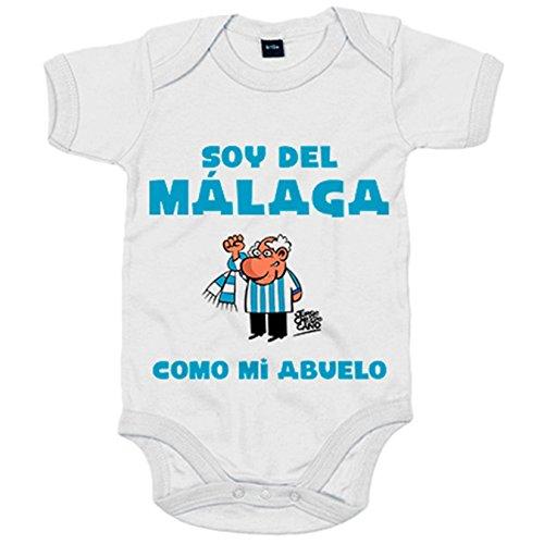 Body bebé soy del Málaga como mi abuelo Jorge Crespo Cano - Blanco, 12-18 meses