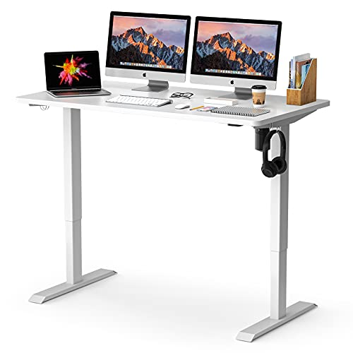Electric Standing Desk, 52 x 28 inches Whole Piece Deskboard, Adjustable Desk for Home Office, Fast Assembly and Ultra-Quiet Adjustment, Stand Up Desk White HOD1A