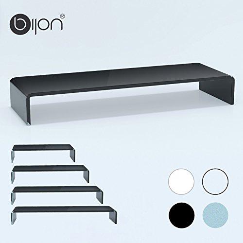 bijon® TV Aufsatz Glas Bildschirm-Erhöhung   PC Monitor-Erhöhung, Schreibtisch-Aufsatz für Laptop Erhöhung, Monitor-Erhöhung   (B/T/H) 900x300x130mm - schwarz