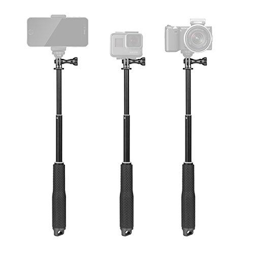 Luxebell Selfie Stick Aluminium Waterproof Telescopic Pole Monopod for Gopro Hero 7 6 5, 4, Fusion, Session, Black, Silver, 3+, 3, 2, 7