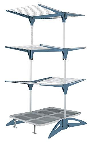 Meliconi Verticaal wasrek Maxi met lekbak en haak voor het ophangen van kleerhangers, kleur Avio-blauw, aluminium, 60 m waslijn, 94 x 90 x 180 cm, gemaakt in Italië