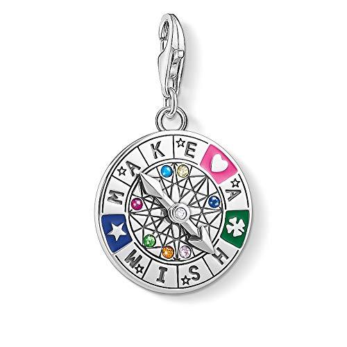 Thomas Sabo Damen Charm-Anhänger Schicksalsrad Make a Wish 925 Sterling Silber 1818-340-7