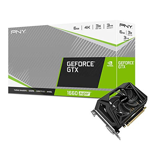 PNY GeForce GTX 1660 Super 6 GB Singola Fan Scheda Grafica, Nero, VCG16606SSFPPB