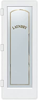 SANS Soucie - Laundry Door - Classic Arched Capitals - 1D Negative Frosted - Traditional / Primed