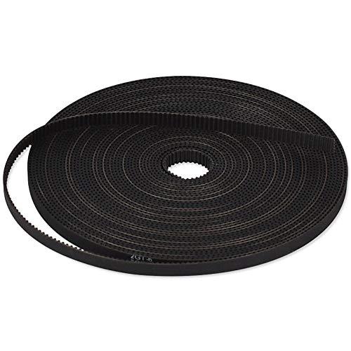 3D Printing GT2 Timing Belt, Zeelo 5 Meters (16.4ft) GT2 Open Timing Belt 2mm Pitch 6mm Width Rubber Fiberglass Fit for RepRap Prusa Mendel Rostock CR-10 Ender 3 3D Printers - Black