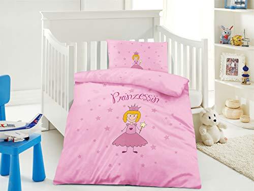 Furniture for Friends Belsonno® Kinder Bettwäsche 100 x 135 cm + Kissen 40 x 60 cm Baumwolle Prinzessin | ÖKO-TEX Standard 100 mit Reißverschluss | Erhältlich mit verschiedenen Motiven