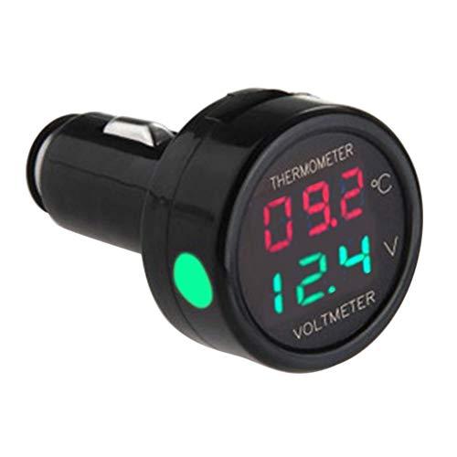 2 in1 Auto Zigarettenanzünder, Digital 12V/24V Voltmeter Thermometer Multi-Funktion KFZ Ladegerät für PKW LKW (Grün + rot)