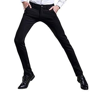 (チーアン)Tiann ロングパンツ メンズ ビジネス レギンスパンツ スーツパンツ 紳士 ゆったり ストレッチ ツラギパンツ チノパン バックジップ スラックス メンズビジネスパンツ スリム ノータック スリムストレート ブラック 28