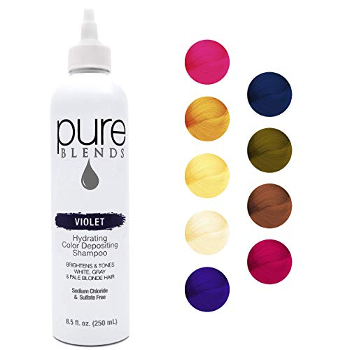 Pure Blends Violet Hydrating Color Depositing Shampoo - Infused with Keratin & Collagen to Repair Dry & Damaged Hair - Eliminates Color Fade - Sulfate, Sodium Chloride, Paraben & Gluten-Free - 8.5 Oz