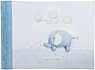 Mousehouse Gifts �lbumes de recuerdos Libro de recuerdos de bebé con dibujo de elefante en tonos azules para regalar a bebé recién nacido en su bautizo TEXT IN ENGLISH