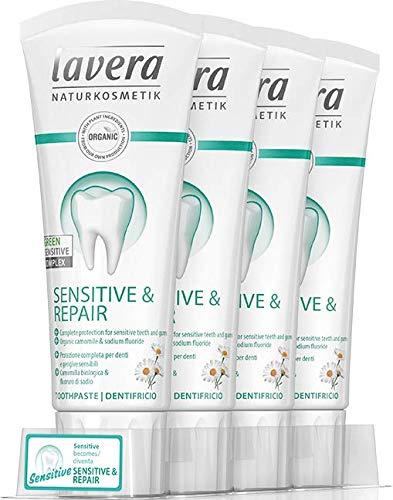 Lavera tandpasta gevoelig en repareert ☆ veganistisch biologische tandpasta 100% gecertificeerde natuurlijke cosmetica 4 x 75 ml - totaal: 300 ml