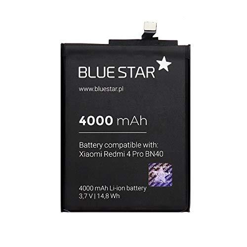 Blue Star Premium - Batería de Li-Ion Litio 4000 mAh de Capacidad Carga Rapida 2.0 Compatible con el Xiaomi Redmi 4 Pro Prime (BN40)