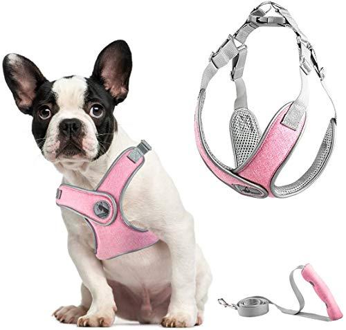 ABRRLO Pet Hundegeschirr für Kleine Mittlere Hunde Reflektierend Geschirr Vest Air-Mesh Einstellbar Dog Harness Weich Gepolstert Atmungsaktiv (XS, pink.)