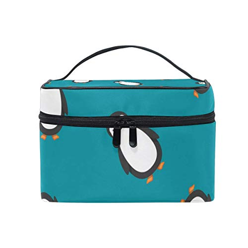 Animal Penguin Pattern Cosmetic Bag Toiletry Travel Makeup Case Handle Pouch Multi-Function Organizer for Women