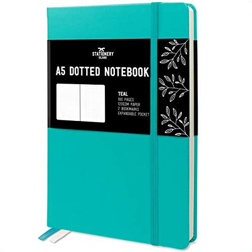 Stationery Island Carnet de Notes A5 Pointillé – Turquoise. Bullet Journal Relié Cartonné de 180pg et Papier de Qualité Supérieure de 120 gsm. Pour Notes, Études, Voyages et le Journal Intime