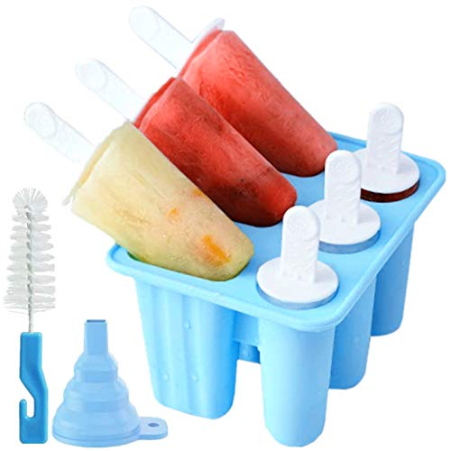 Upgrade Popsicle molds,Popsicle mold 6 Pieces Silicone Ice Pop Easy Release 6 Cavities Blue